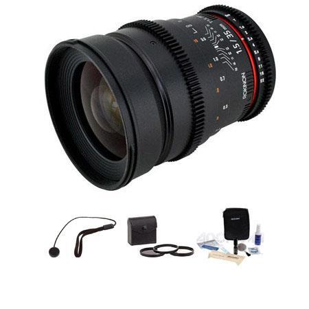 Rokinon T Cine Lens Canon EF Bundle Pro Optic Digital Essentials Filter Kit Flashpoint CapKeeper CK  95 - 546