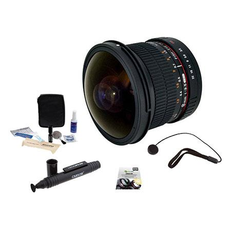 Rokinon f HD Fisheye Lens Removable Hood Canon EF Bundle New Leaf Year Drops Spills Warranty Lenspen 83 - 397
