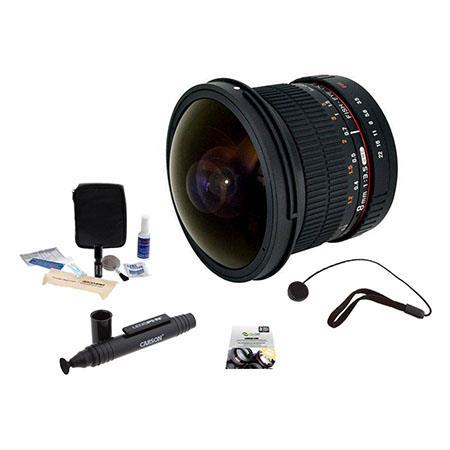 Rokinon f HD Fisheye Lens Removable Hood PentaK Bundle New Leaf Year Drops Spills Warranty Lenspen L 73 - 28