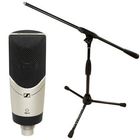 Sennheiser MK Studio Condenser Microphone Cardioid Polar Pattern Bundle Ultimate Support Pro T Short 65 - 82