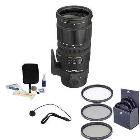 Sigma f EX DG OS HSM AF Lens Kit for Nikon AF Tiffen Photo Essentials Filter Kit Lens Cap Leash Prof 303 - 52