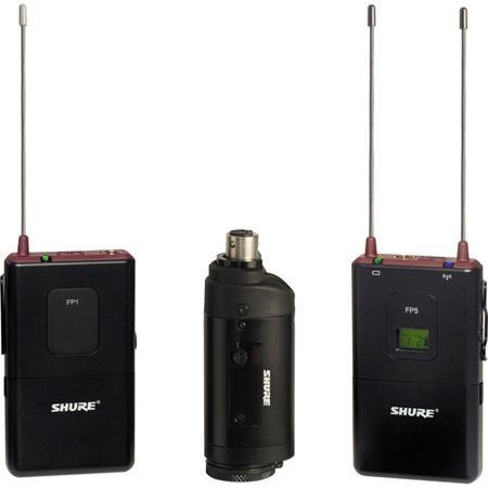 Shure FP J FP Wireless Bodypack Plug On Combo System FP Receiver FP Bodypack Transmitter FP Plug On  55 - 484
