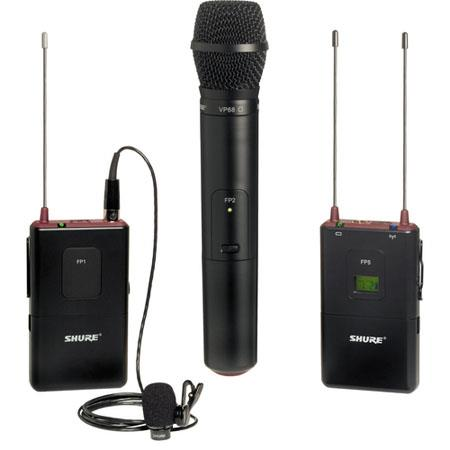 Shure FPVP L Portable BodypackHandheld Wireless System WL Omnidirectional Lavalier Mic VP Cardioid M 64 - 555