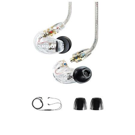 Shure SE Sound Isolating In Ear Stereo Earphones Clear Bundle Shure CBL M K EFS iPhone iPod Headphon 185 - 117