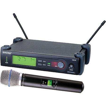 Shure SLXBETAC J Wireless Microphone System J MHz Includes SLX Receiver SLX Handheld Transmitter and 156 - 424
