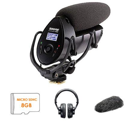 Shure VPF LensHopper Condenser Microphone Bundle Shure A FUR Fur Windjammer and Shure SRH Profession 66 - 424