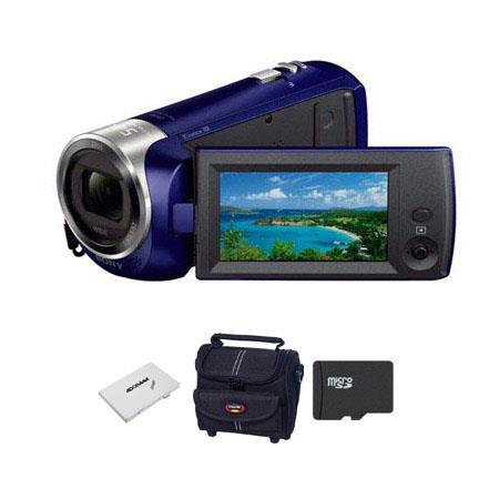 Sony HDR CX Full HD Handycam Camcorder Blue Bundle GB CLS UHS Micro SDHC Card Camcorder Case Slinger 93 - 88