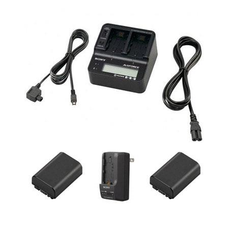 Sony Pack NP FV InfoLithium V Series Camcorder Batteries Bundle Sony AC VQV Dual Battery Charger and 124 - 21