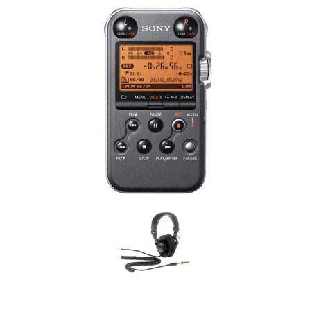Sony PCM MB Portable Linear PCM Recorder kHz bit GB Memory USB High Speed Port Matt Bundle Sony MDR  68 - 599