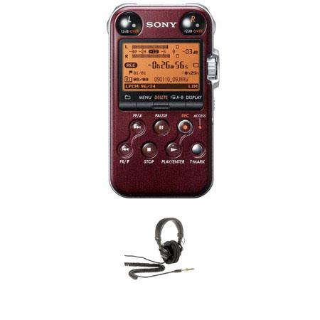 Sony PCM MR Portable Linear PCM Recorder kHz bit GB Memory USB High Speed Port Glossy Bundle Sony MD 240 - 752
