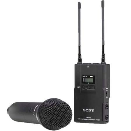 Sony UWPV Handheld Microphone TX Portable RX Wireless System Operating on TV Channels to  214 - 229