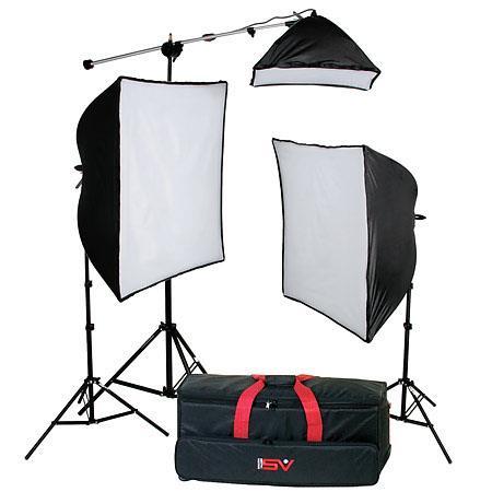 Smith Victor KSB Economy SoftboThree Light Kit SBL SBL SoftboLights Light Stands Mini Boom Photofloo 84 - 517