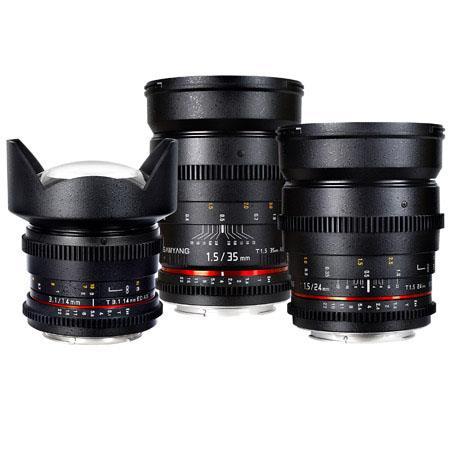 Samyang Canon EF Mount Three Cine Lens Bundle T Cine Lens T Cine Lens and T Cine Lens For Canon Vide 353 - 659