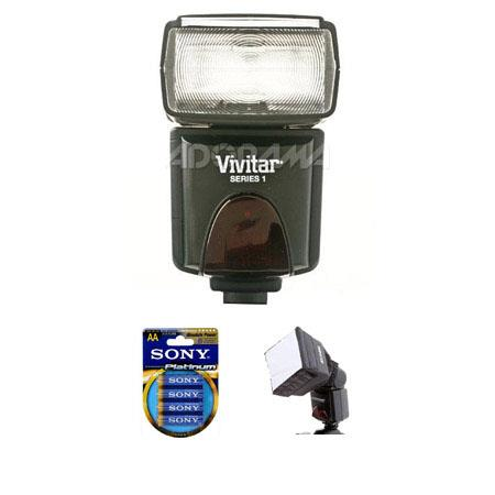 Vivitar DF Digital TTL Shoe Mount Power Zoom Auto Focus Flash Kit Canon TTL Duracell AA Battery volt 97 - 528