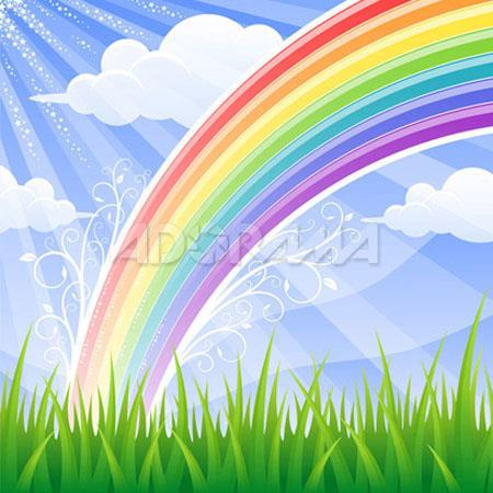 Westcott Photo BasicsRainbow Meadows Sky Field Large Rainbow Scenic Cotton Muslin Background  113 - 89