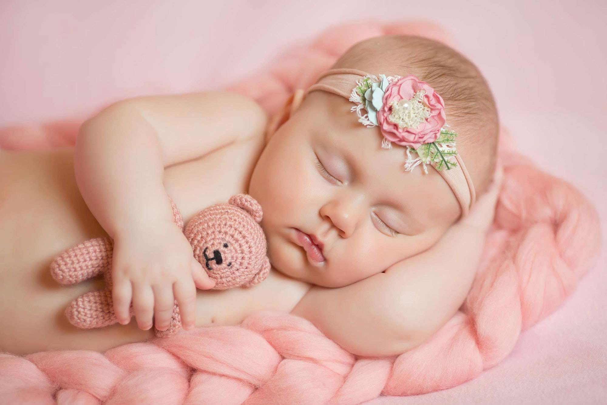 Sleeping baby girl newborn photography