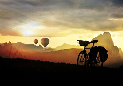 Sunset Bicycle Hot Air Balloons
