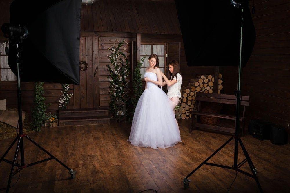 Éclairage de photographie de mariage pour séance photo de mariée