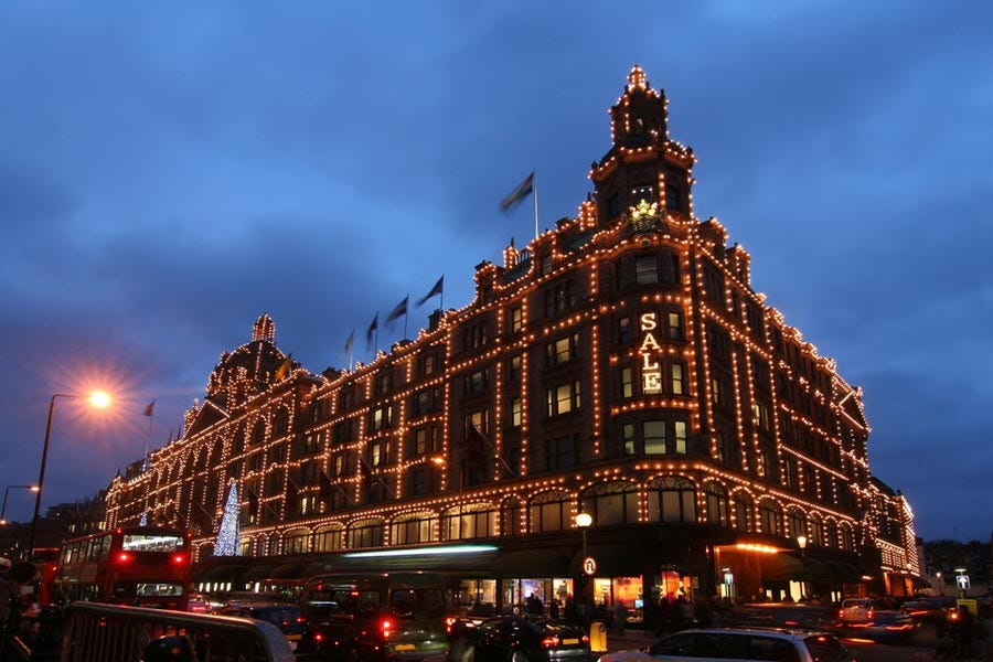 London's famous department store all dressed up for the holidays