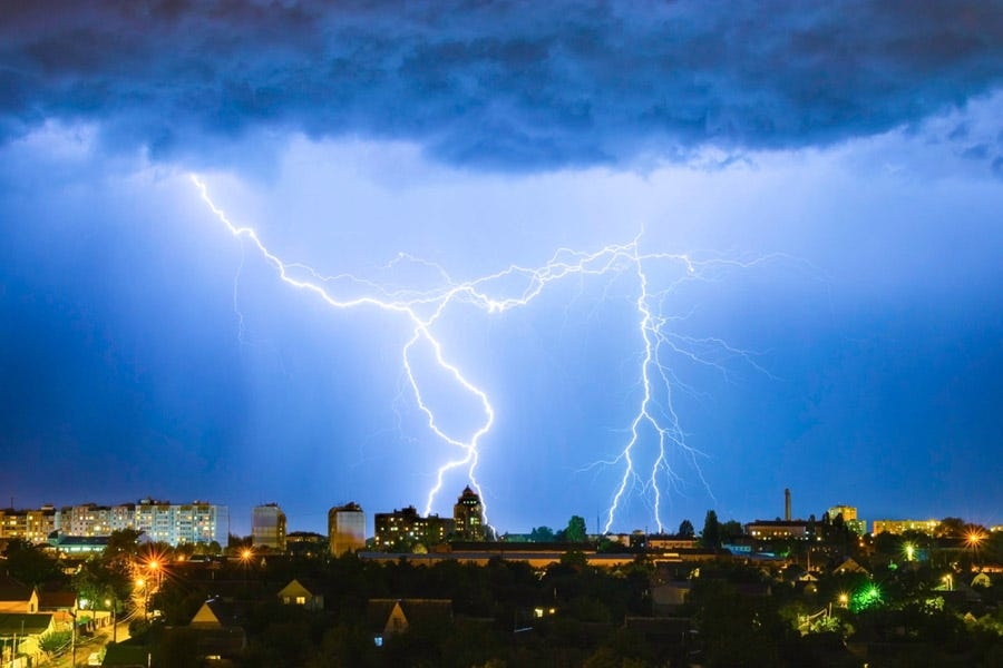 Lightning bolts over the city