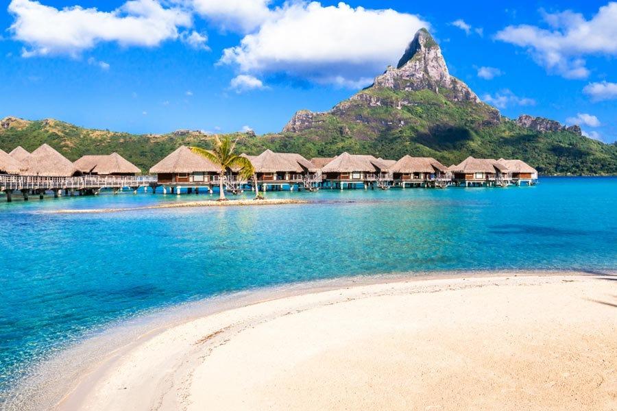 View of huts and mountain in Bora Bora island