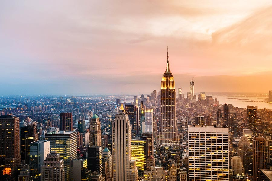 Wide shot of New York City skyscrapers