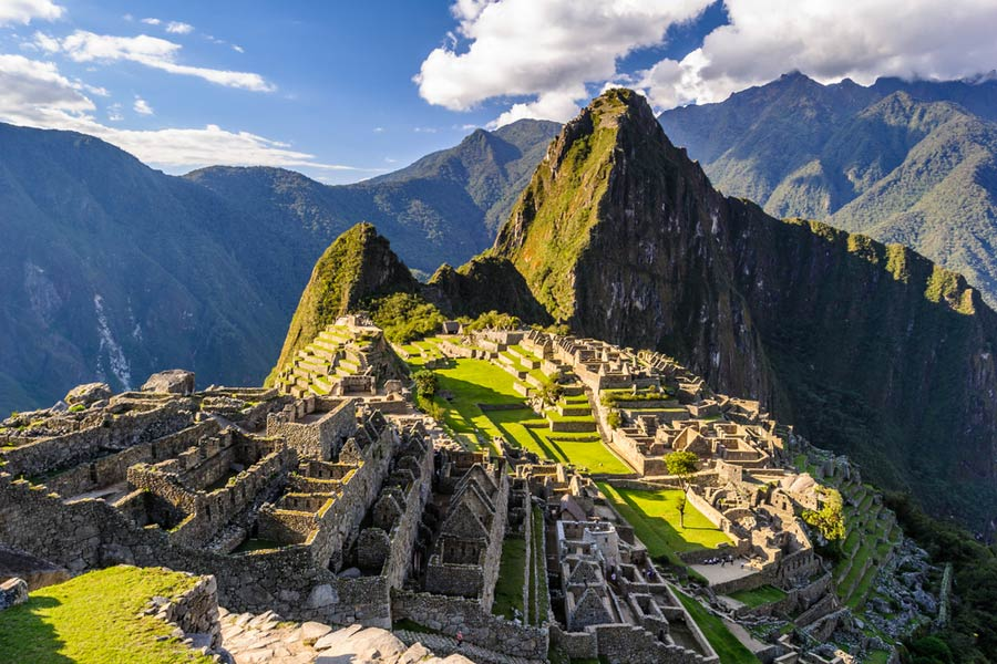 Aerial shot of the Machu Picchu ruins