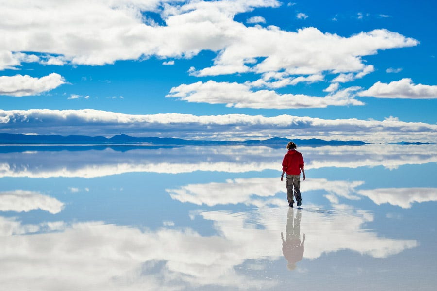 Stunning sky reflection on the Salar de Uyuni salt flats in Bolivia