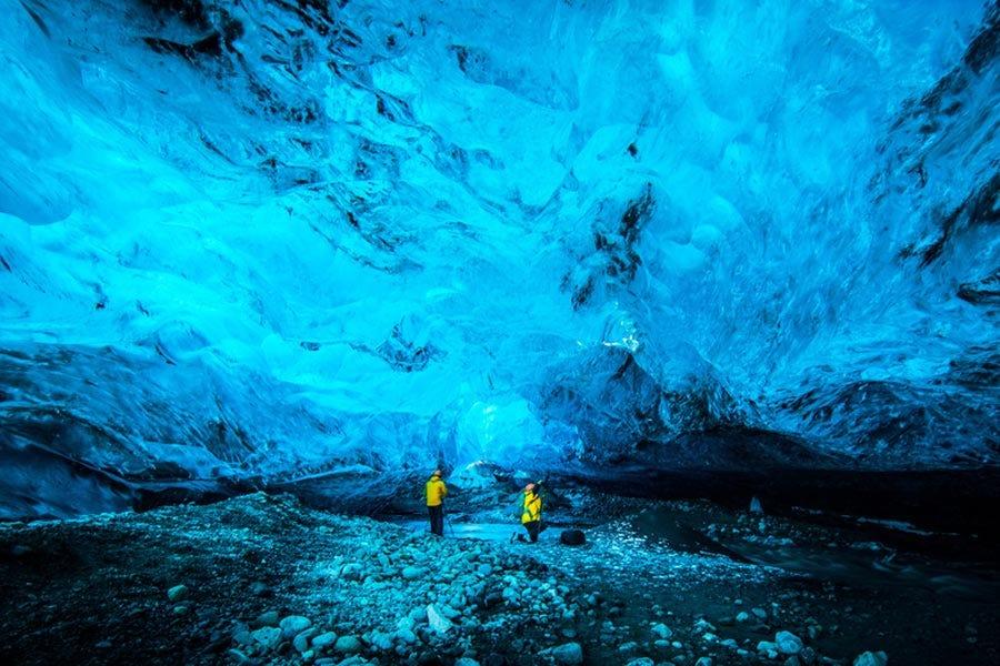 Large-scale shot inside the Vatnajokull glacier in Iceland