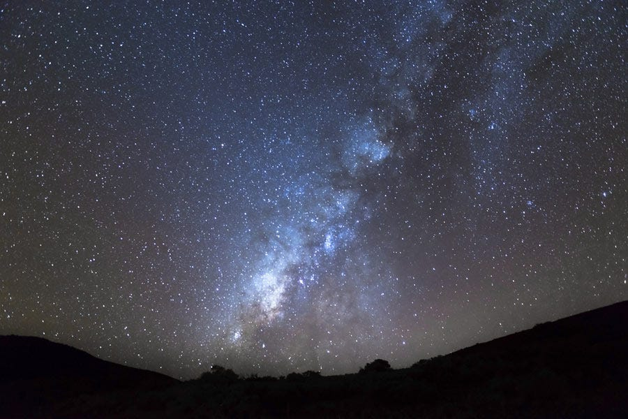 View of the Milky Way at the top of the Mauna Kea in Hawaii