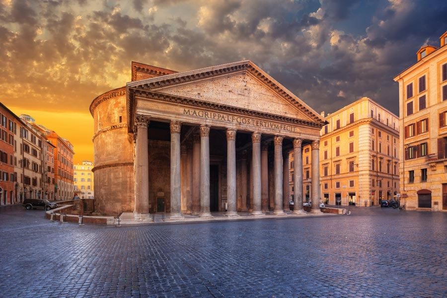 Outdoor shot of the Pantheon in Rome, Italy