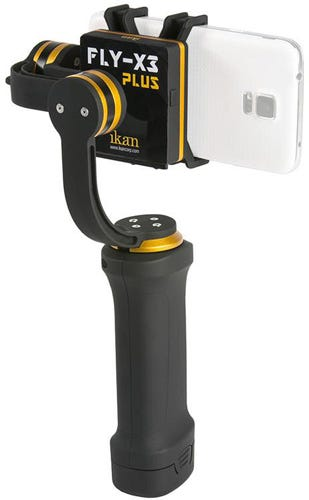 iKan फ्लाई X3 जिम्बल स्टेबलाइजर स्मार्टफोन के साथ सफेद पृष्ठभूमि पर जुड़ा हुआ है