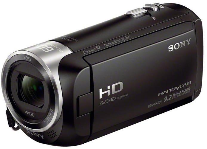 सफेद पृष्ठभूमि पर सोनी HDRCX405 कैमकॉर्डर
