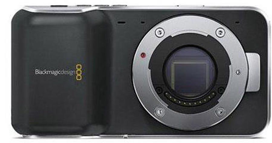 Black Magic Pocket Cinema Camera front facing