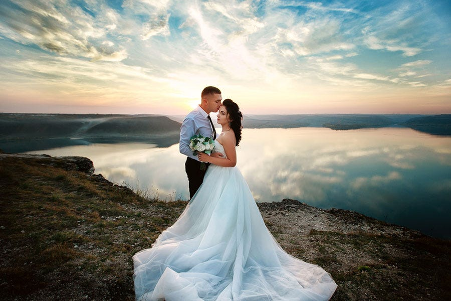 beautiful sunset shot of wedded couple