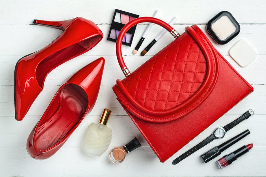 product photography shot of female accessories and cosmetics