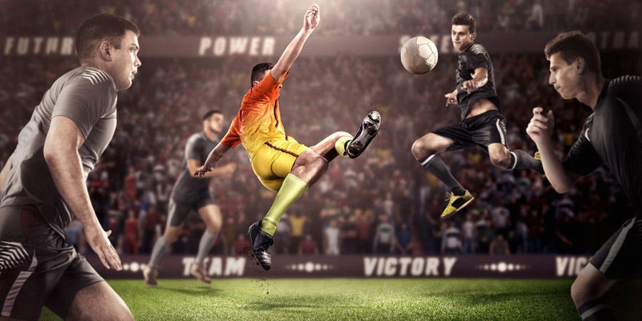 composite sports photography photo of men playing soccer