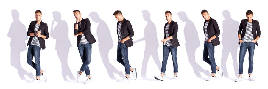 male model doing a couple of different poses