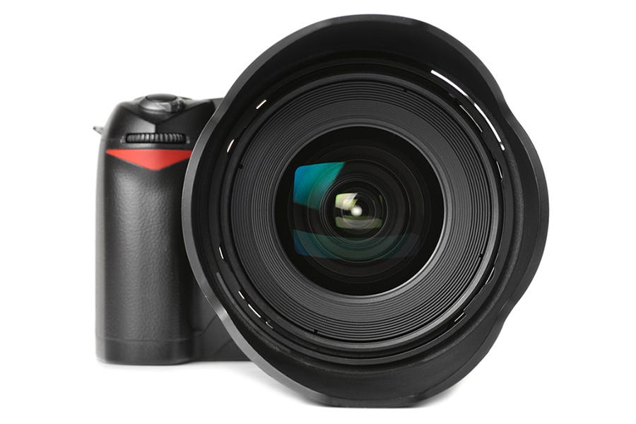 camera with mounted wide-angle lens