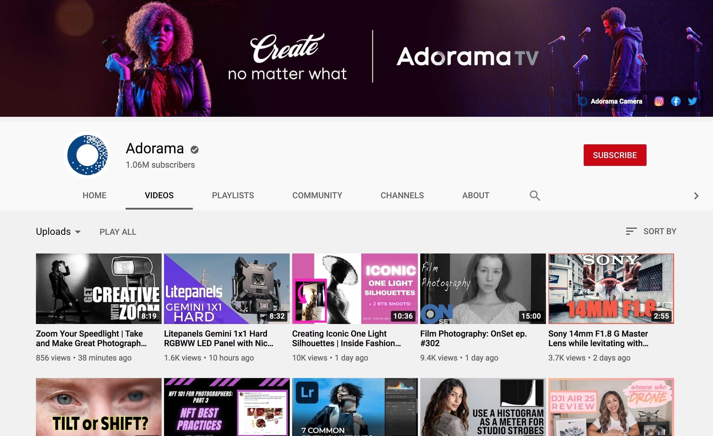 Adorama YouTube channel