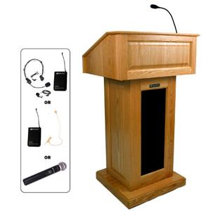 AmpliVox SW3020 Lectern with Headset Mic, Natural Oak: Picture 1 regular