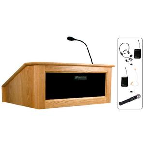AmpliVox SW3025 Lectern with Headset Mic, Natural Oak: Picture 1 regular