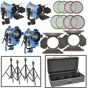 Arri Four-Light Fresnel Mini Kit, 220V Bulbs, 3-Light Case with Wheels: Picture 1 regular