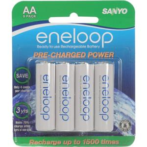 "Sanyo ""New"" 1500 Eneloop AA Pre-Charged Rechargeable NiMH (1900 mAh) Batteries (8 Pack)- (HR-3UTGA) SECHR3U8BPN"