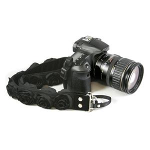 "Camera Straps by Capturing Couture:Floral Collection Black Organza 1.5"" SLR/DSLR Camera Strap SLR15-BKRS"