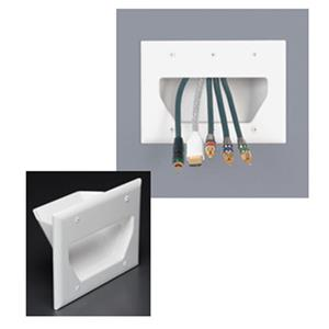 DataComm Electronics 3-Gang Recessed Low Voltage Cable Plate, White: Picture 1 regular