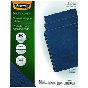 Fellowes Navy Grain Oversize Binding Covers, 200 Pack: Picture 1 regular