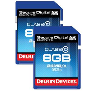 Delkin 8GB Secure Digital HC 163x (SDHC) Class 10 Memory Cards - Two Pack: Picture 1 regular