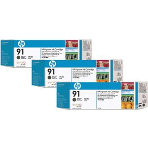 HP 91 3 Pack 775-ml Matte Black Ink Cartridges C9480A