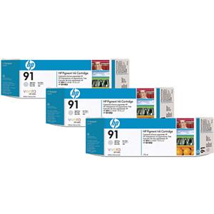 HP 91 3 Pack 775-ml Light Gray Ink Cartridges C9482A